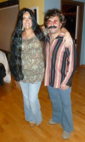 Our Sonny and Cher costumes from last year's halloween party -- already working on this year's