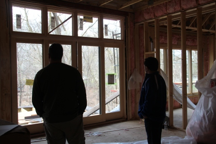 Super Bill and Rich contemplate the future deck.  Should we just go ahead and make it a screened porch?  I vote yes!