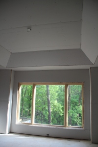 Our bedroom window.  Love the tray ceiling!