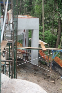 The newly stuccoed back deck posts!