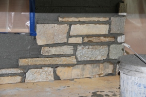 A little corner of the stone in place!