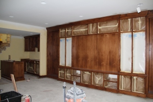 Another view of entertainment center and bar
