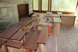 """More drawers -- in front of the fireplace (the wood """"box"""" is for the TV)"""