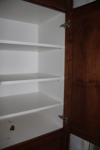 These master bath shelves will shortly be filled with soap, shampoo, makeup, etc!  I am ready!