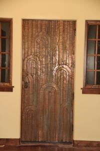 Our front door -- I love the copper, art deco look!