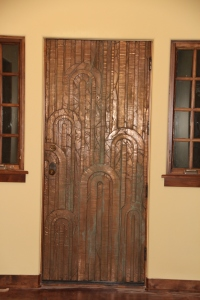 Our front door -- I love the copper, art deco look!