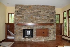 The newly sealed and grouted hearth wall. The fireplace should be up and running tomorrow!