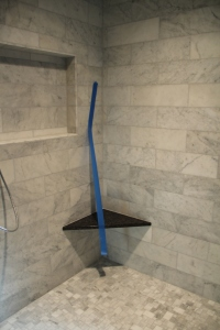 Seat in master shower has been installed
