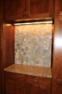 Backsplash in hall serving bar