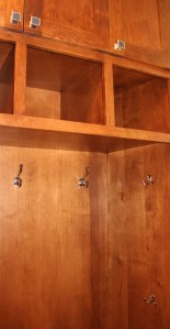 mud room cubbies with hardware in place!