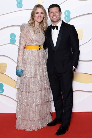 Mandatory Credit: Photo by David Fisher/BAFTA/Shutterstock (10543584ab) Edith Bowman and Dermot O'Leary 73rd British Academy Film Awards, Arrivals, Royal Albert Hall, London, UK - 02 Feb 2020