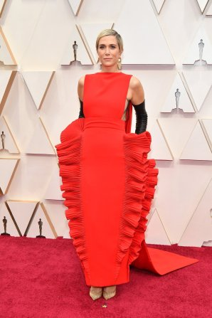 Kristen Wiig: I know some are calling this the lasgane dress, but honestly, I find it hysterical and fantastic!